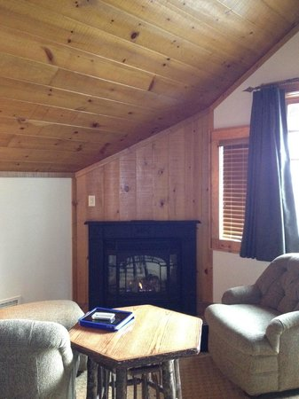 The Whiteface Lodge: Master bedroom fireplace and seating