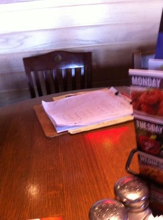 Applebee's: set at a table with papers on it.