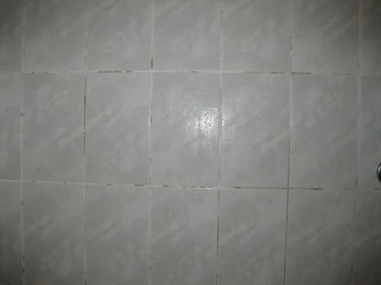 Beaufort Park Hotel: Tiles over bath and shower area.