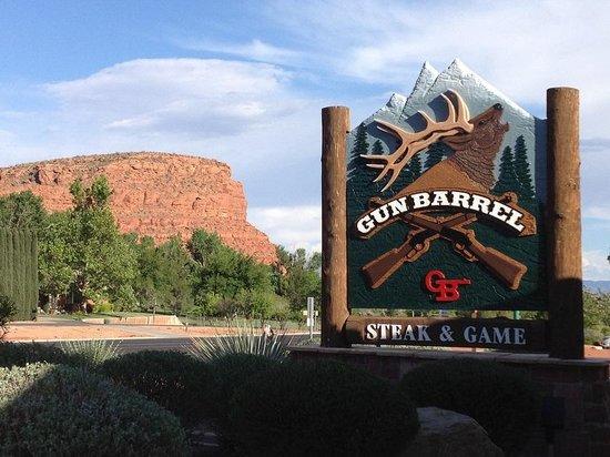 Gun Barrel Steak & Game House: Gun Barrel sign