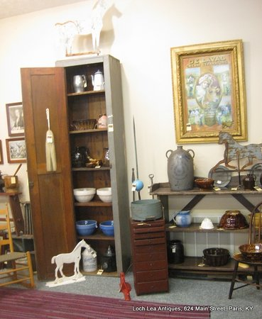Loch Lea Antiques: Tall chimney cupboard in old grey paint, and more....