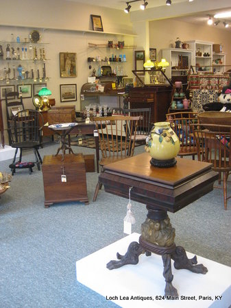 Loch Lea Antiques: Empire dressing table in the foreground.