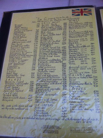 Menu at plaka restaurant in athens greece picture of for Acropolis cuisine menu