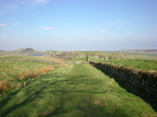 Coach House Holidays: Hadrian's Wall looking East with Bardon Mill two miles on the right.