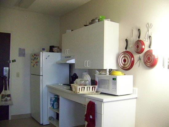 "Extended Stay America - Fayetteville - Springdale: This is my  kitchen in the ADA room. I use my own pots and pans. They allowed me to ""dress"" my r"