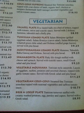 Pyramid Cafe: Vegetarian Menu