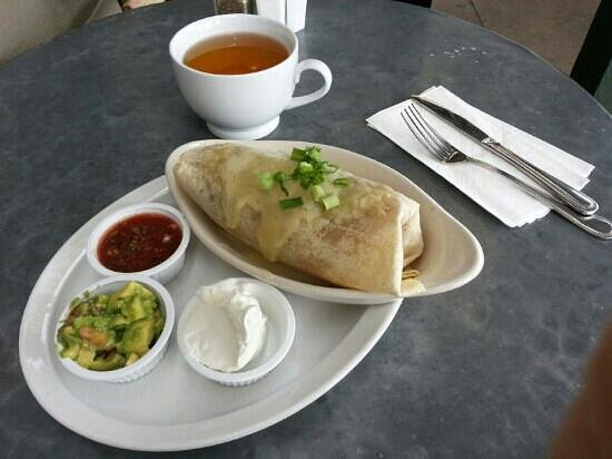 Cafe Zinc : Lunch burrito and jasmine green tea.
