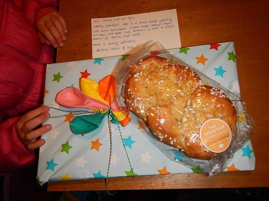 The Weavery Boutique Bed & Breakfast: A home baked Easter bread and gifts for our kids from Bettina, the owner.