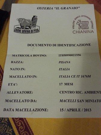Coltano, Italy: Certificato della Carne