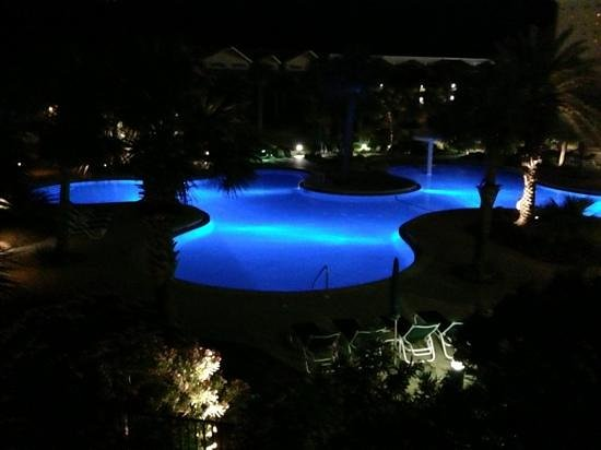 Sterling Shores: pool at night.