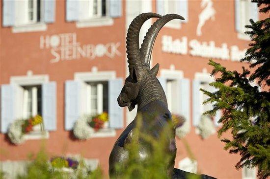 Hotel Steinbock: Aussenansicht mit Steinbock im Vordergrund