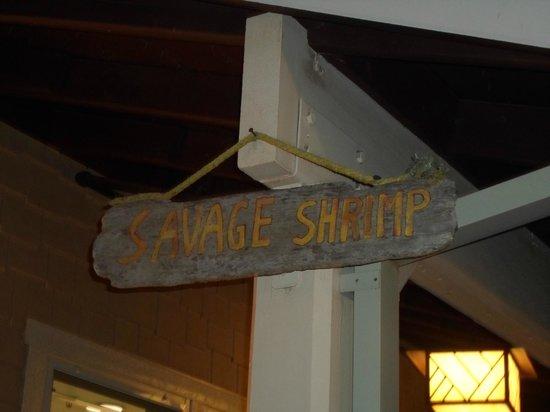 Savage Shrimp: Storefront sign