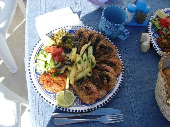 Restaurant Sidi Ali Adel : plat de crevettes grillées