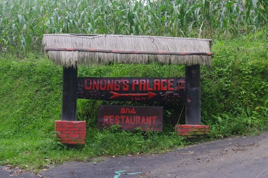Onongs Palace: Sign on road leading to Onong's