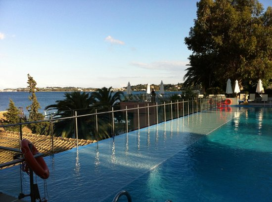 Kontokali Bay Resort and Spa: view across to Corfu town from main pool