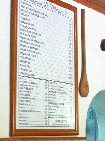 Montemor-o-Novo, Portekiz: Ementa do Restaurante A Ribeira