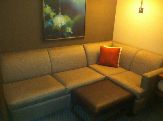 Hyatt Place LAX El Segundo: Nice couch that was in our double. Just opposite of that was a terrific 45' flat screen on a swi