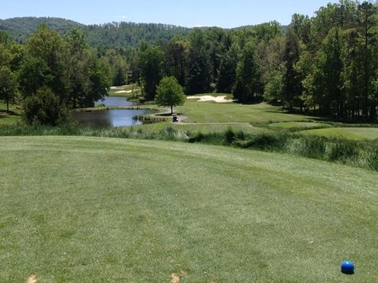 Reems Creek Golf Club: 3rd hole tee with green behind trees on left