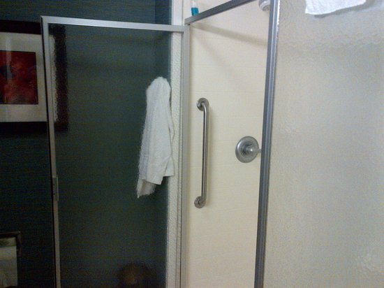 Hampton Inn New Albany: Shower door mounted backwards