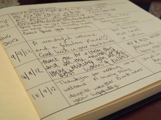 Arden House, Callander: Visitor's Book