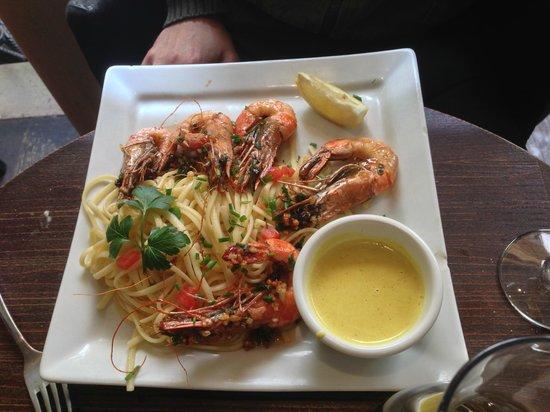 Le Tresor: gambas con espaguetis