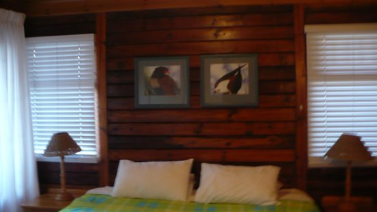 Knysna River Club: the head of thebed showing beatiful framed pictures