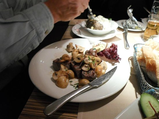 Das kleine Steakhaus : Steak, Mushrooms & Huge Potato-what's left of it-Hubby was hungry!