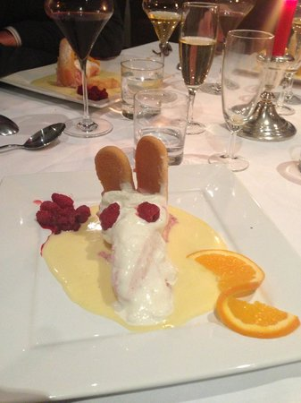 Loire Valley Retreat: Desert at dinner (husband added the raspberry eyes)
