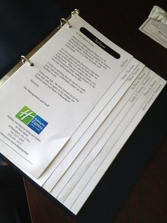 Holiday Inn Express Hotel & Suites Williamsport : welcome binder 2