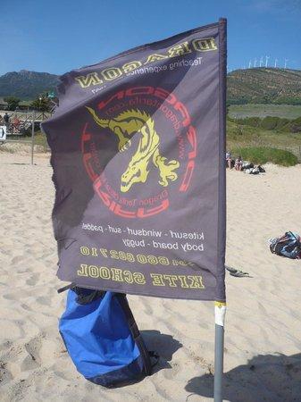 Dragon Tarifa Kite School: Dragon Kite Flag on the beach in Tarifa