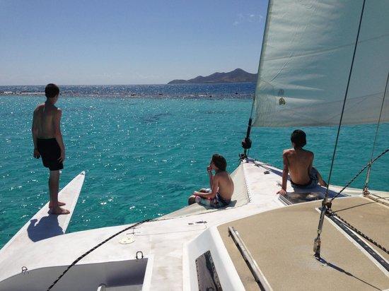 Buck Island Cove: boys on the bow