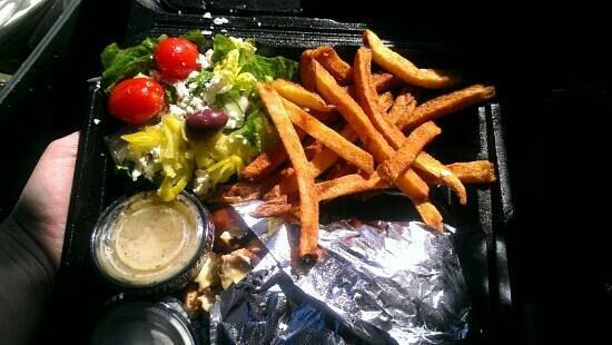 Nupa Mediterranean Cuisine: Grilled chicken gyro with Greek salad & their award winning fries