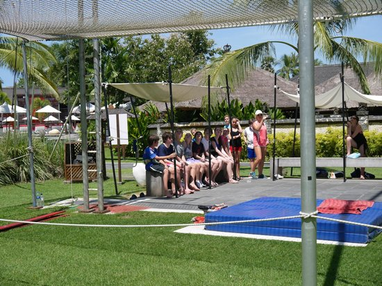 Club Med Bali: lining up for trapeze