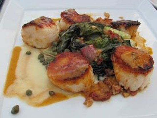 Patio American Grill: Pan Seared Local Scallops With Sherry Caper  Vinaigrette And A