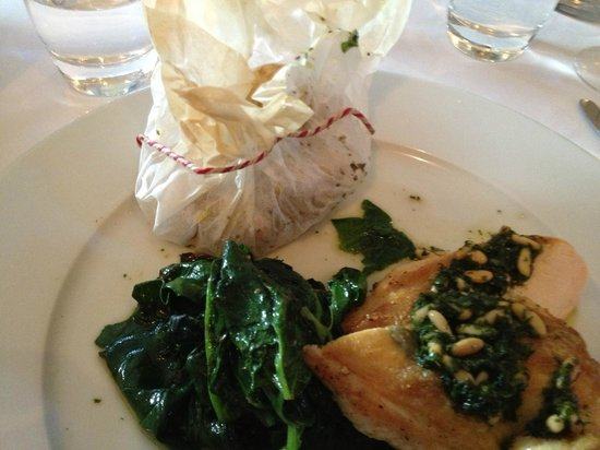 Clarke's : The corn-fed chicken with parchment potatoes & spinach