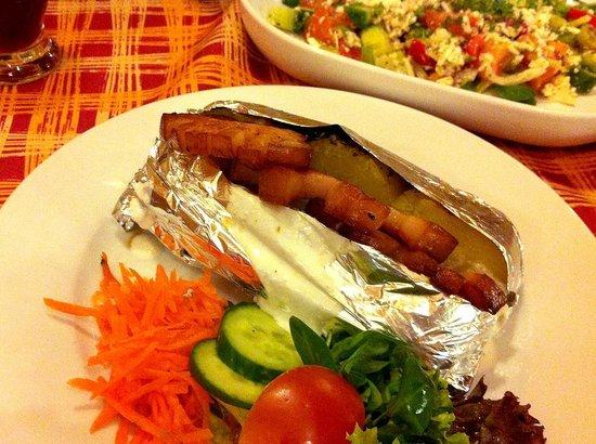 Penzion U Golema : potato with bacon and garlic sour cream sauce