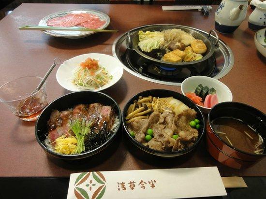 Asakusa Imahan Kokusai Dori Honten: スキ焼御膳と2段重ランチです