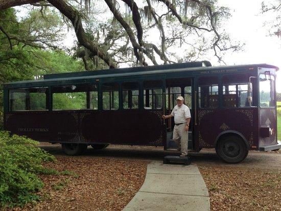 Charleston Tea Plantation: Trolley that takes you around the plantation