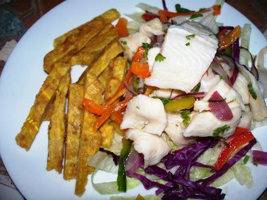 La Zafra : ceviche, served with tostone strips