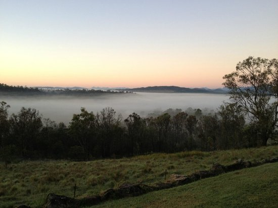 Spicers Hidden Vale: Sunrise prior to the mist lifting