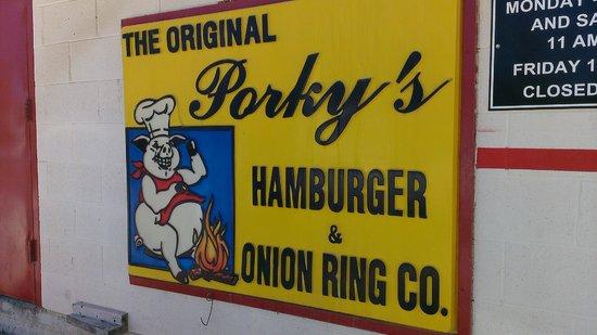 Porky's Hamburgers & Onion Ring Co: The Porky's sign