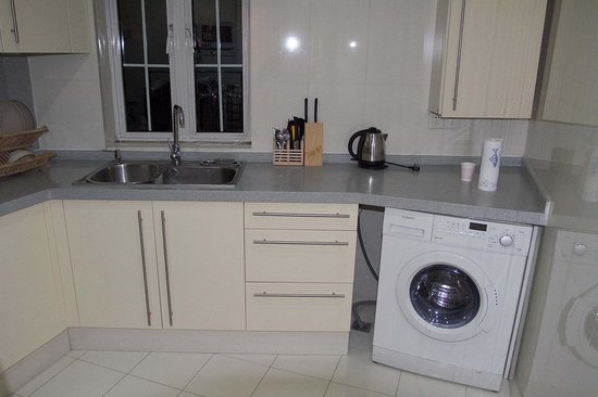 Ladoll Service Apartments : Kitchen Area with Clothes Washer