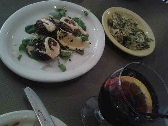 Eva: crab cakes, brussels sprouts and a tasty sangria