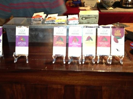 Madre Chocolate: The line up of bars for sale!