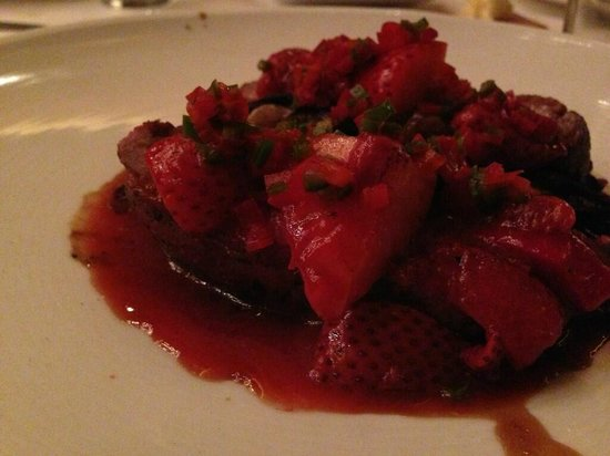 Butter Midtown : Hudson Valley Duck Breast (yes, those are strawberries)