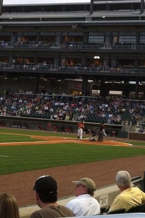 Regions Field: Multi-level boxes behind batter
