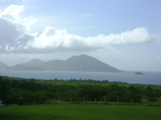 The Mount Nevis Hotel: Looking over to St. Kitts from my room patio