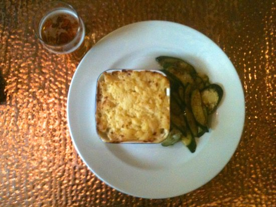 The Flyer: hake fish pie with a half of Kozel lager