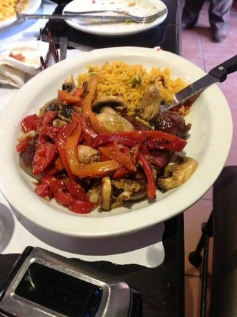 Asador Pamplona: Steak Smothered with Grilled Mushrooms and Pimentos