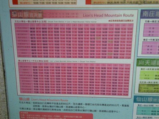 Bus timetable to Lion's Head Mountain
